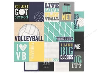 Simple Stories Collection Volleyball Paper 12 in. x 12 in.  Journaling Card Elements 3 in. x 4 in.  & 4 in. x 6 in. (25 pieces)