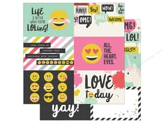 scrapbooking & paper crafts: Simple Stories Collection Emoji Love Paper 12 in. x 12 in. Horizontal Elements 4 in. x 6 in. (25 pieces)