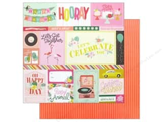 scrapbooking & paper crafts: Pink Paislee Collection Confetti Wishes Paper 12 in. x 12 in. Paper 1 (25 pieces)