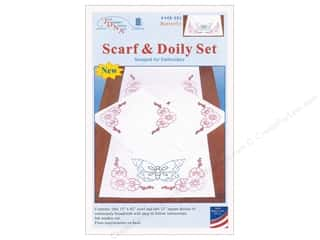Clearance: Jack Dempsey Scarf & Doily Set Perle Edge Butterfly