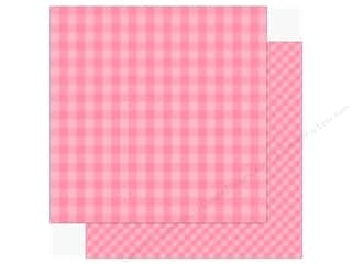 Echo Park Collection Dot & Stripe Spring Paper 12 in. x 12 in.  Raspberry