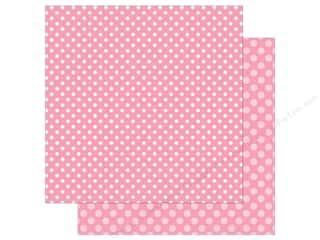 Echo Park Collection Dot & Stripe Spring Dot Paper 12 in. x 12 in.  Raspberry (25 pieces)