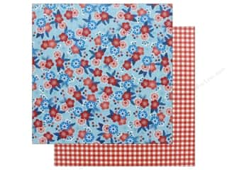 scrapbooking & paper crafts: Pebbles Land That I Love Paper 12 in. x 12 in. Patriotic Blossom (25 pieces)