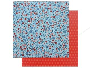 scrapbooking & paper crafts: Pebbles Land That I Love Paper 12 in. x 12 in. Patriotic Blooms (25 pieces)