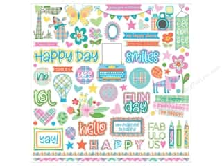 Photo Play Collection  Made 4 Plaid Happy Sticker Element 12 in. x 12 in.