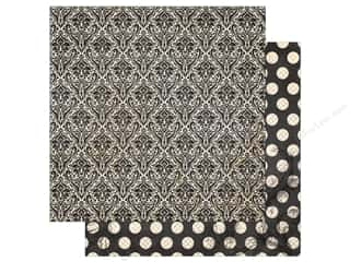 Bo Bunny Collection Double Dot Paper 12 in. x 12 in.  Licorice Damask