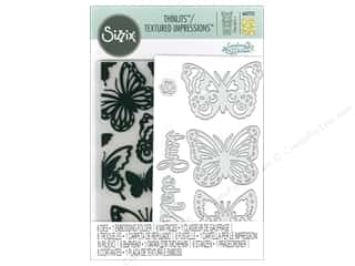 Sizzix Die & Emboss Folder Courtney Chilson Thinlits With Textured Impressions Just A Note Butterflies