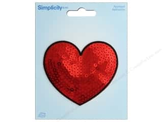 Simplicity Applique Iron On Sequin Heart Red