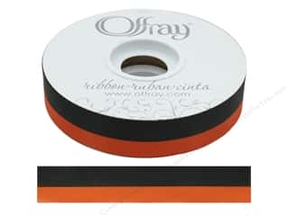 Offray Ribbon Acetate Spirit 7/8 in. Black/Orange (50 yards)