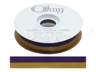Offray Ribbon Acetate Spirit 7/8 in. Purple/Gold (50 yards)