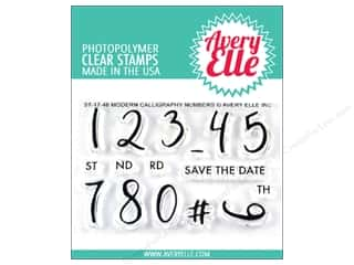 stamp cleaned: Avery Elle Clear Stamp Modern Calligraphy Numbers