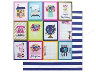 Clearance: Doodlebug Collection Hello Paper 12 in. x 12 in. Stripe Navy (25 pieces)