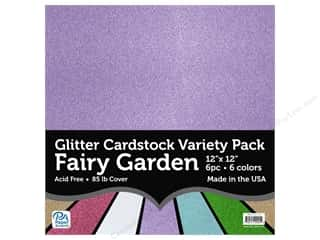 scrapbooking & paper crafts: Paper Accents Glitter Cardstock Variety Pack 12 x 12 in. Fairy Garden 6 pc.