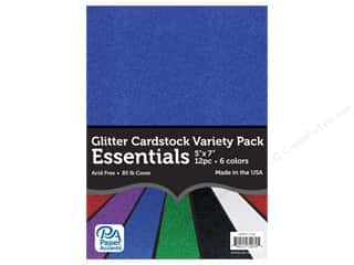 scrapbooking & paper crafts: Paper Accents Glitter Cardstock Variety Pack 5 x 7 in. Essential 12 pc.