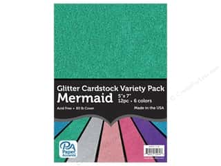 scrapbooking & paper crafts: Paper Accents Glitter Cardstock Variety Pack 5 x 7 in. Mermaid 12 pc.