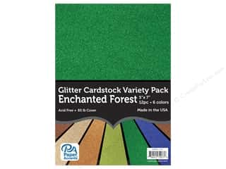 scrapbooking & paper crafts: Paper Accents Glitter Cardstock Variety Pack 5 x 7 in. Enchanted Forest 12 pc.