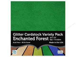 scrapbooking & paper crafts: Paper Accents Glitter Cardstock Variety Pack 12 x 12 in. Enchanted Forest 6 pc.
