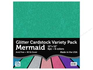 scrapbooking & paper crafts: Paper Accents Glitter Cardstock Variety Pack 12 x 12 in. Mermaid 6 pc.