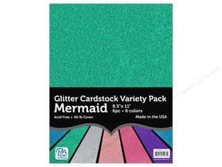scrapbooking & paper crafts: Paper Accents Glitter Cardstock Variety Pack 8 1/2 x 11 in. Mermaid 6 pc.