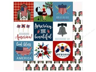 Echo Park Collection Celebrate American Paper 12 in. x 12 in.  Journaling Cards 4 in. x 4 in. Picture