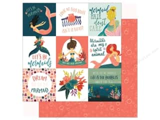 Echo Park Collection Mermaid Tales Paper 12 in. x 12 in. Journaling Cards 4 in. x 4 in. (25 pieces)