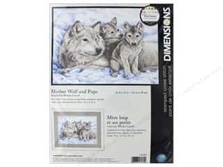 yarn & needlework: Dimensions Cross Stitch Kit 16 in. x 12 in. Mother Wolf & Pups
