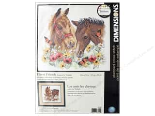 yarn & needlework: Dimensions Cross Stitch Kit  12 in. x 11 in. Horse Friends