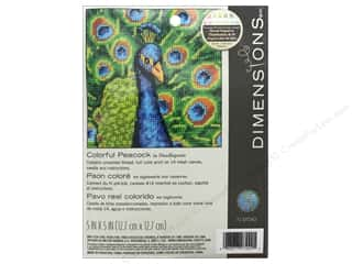yarn & needlework: Dimensions Needlepoint Kit 5 x 5 in. Colorful Peacock