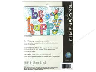 yarn & needlework: Dimensions Stamped Cross Stitch Kit 7 x 5 in. Be Happy