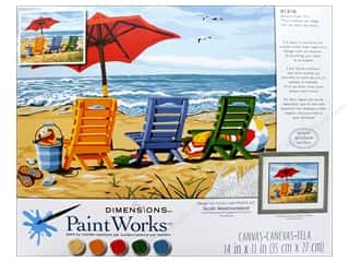 craft & hobbies: Paintworks Paint By Number Kit 14 x 11 in. Beach Chair Trio