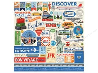 Carta Bella Collection Passport Sticker  12 in. x 12 in. (15 pieces)