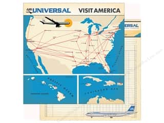 Clearance: Carta Bella Collection Passport Paper 12 in. x 12 in. Flight Map (25 pieces)