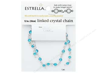 beading & jewelry making supplies: Solid Oak Chain Estrella 12 in.  Close Link 4 mm Silver/Blue Topaz