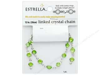 beading & jewelry making supplies: Solid Oak Chain Estrella 12 in. Close Link 6 mm Silver/Peridot