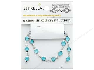 Solid Oak Chain Estrella 12 in. Close Link 6 mm Silver/Blue Topaz