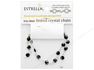 beading & jewelry making supplies: Solid Oak Chain Estrella 12 in. Close Link 6 mm Silver/Black