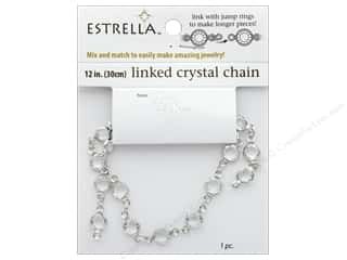 beading & jewelry making supplies: Solid Oak Chain Estrella 12 in.  Close Link 6 mm Silver/Crystal