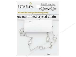 beading & jewelry making supplies: Solid Oak Chain Estrella 12 in. Wide Link 6 mm Silver/Crystal
