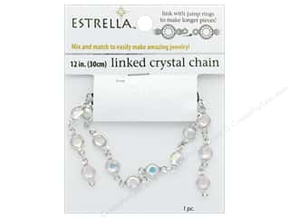beading & jewelry making supplies: Solid Oak Chain Estrella 12 in.  Close Link 6 mm Silver/Crystal Aurora Borealis