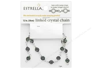 beading & jewelry making supplies: Solid Oak Chain Estrella 12 in.  Close Link 6 mm Silver/Smoke
