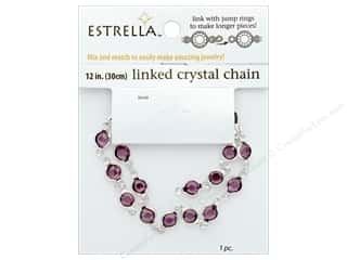 "beading & jewelry making supplies: Solid Oak Chain Estrella 12"" Close Link 6mm Silver/Amethyst"