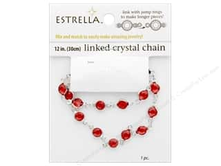 beading & jewelry making supplies: Solid Oak Chain Estrella 12 in.  Close Link 6 mm Silver/Ruby