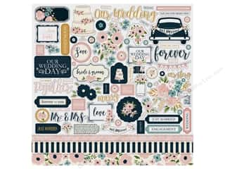 scrapbooking & paper crafts: Echo Park Collection Just Married Sticker 12 in. x 12 in. (15 pieces)