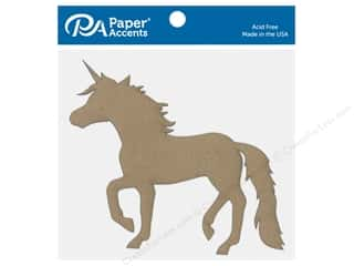Chipboard: Paper Accents Chip Shape Unicorn Natural 6 pc