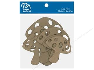 scrapbooking & paper crafts: Paper Accents Chip Shape Mushrooms Natural 6 pc