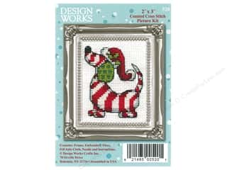 yarn & needlework: Design Works Counted Cross Stitch Kit 2 x 3 in. Candy Cane Dog