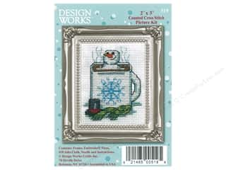 yarn & needlework: Design Works Counted Cross Stitch Kit 2 x 3 in. Cocoa Snowman