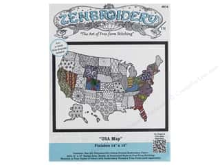 stamps: Design Works Zenbroidery Fabric 14 in. x 18 in. USA Map