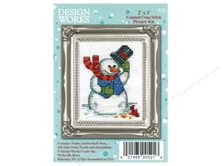 yarn: Design Works Counted Cross Stitch Kit 2 x 3 in. Snowman and Cardinal