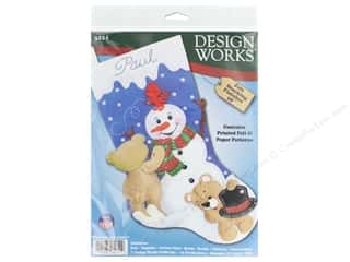 "Clearance: Design Works Kit 18"" Felt Stocking Snowman With Teddies"